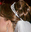 bridal curl updo with veil