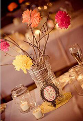 painted branch centerpiece with paper flowers