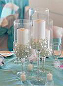 candle and glass beads centerpiece