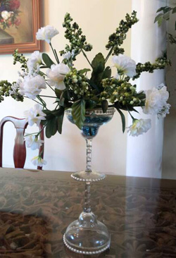 centerpiece with martini glasses