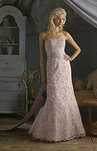 affordable mermaid style pink wedding dress